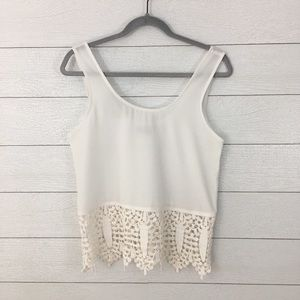 Luca Couture White Lace Trim Tank